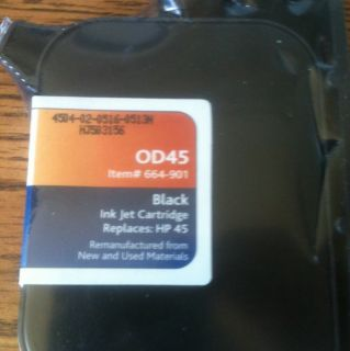 Replaces HP 45 Black Cartridge OD45 Item 664 901 from Office Depot