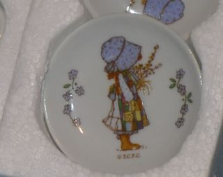 Vintage Holly Hobbie China Dinner Tea Set in Original Box Old Doll Toy