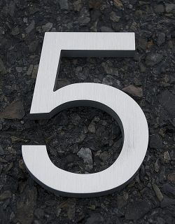 Modern House Number Aluminum Helvetica Font Five 5