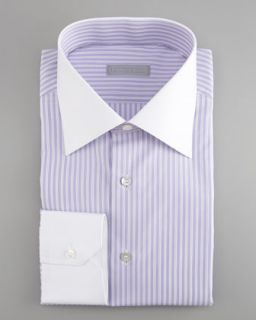Stefano Ricci French Cuff Dress Shirt, Purple/White   Neiman Marcus