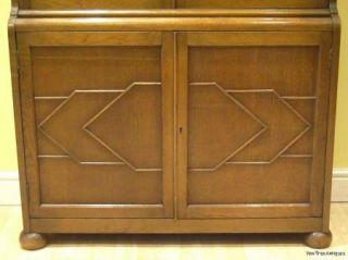 1920s Oak ASTRAGAL Glazed Bookcase Cabinet