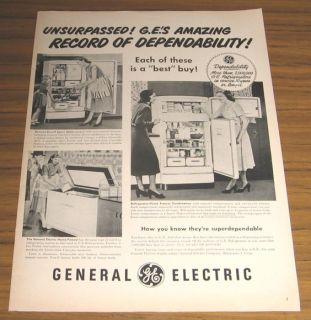 1949 Ad General Electric GE Refrigerator Home Freezer