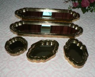 Set of Five Home Interiors Gold Framed Accent Mirrors Vertical or