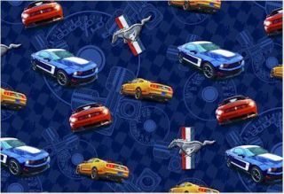 Ford Motors Mustangs on Blue Fabric Fat Quarter