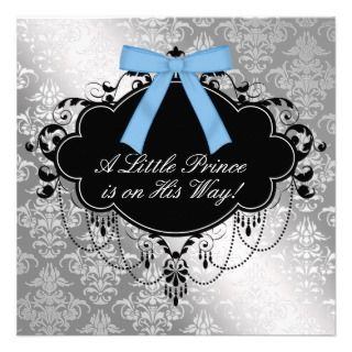 Silver Blue Black Prince Baby Boy Shower Invite