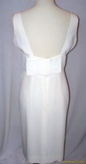 Vintage Dress 60s Wiggle 16 Cream Sequins Down Front Bow in Back Mint