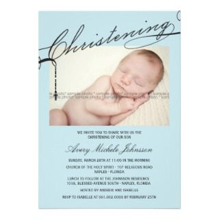 Scripted Christening Modern Cross Boy Blue Photo Cards