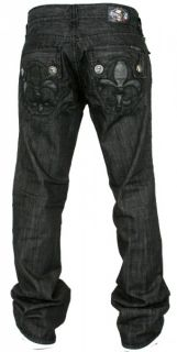 Mens Laguna Beach Jeans Hermosa Beach Boot Cut Black Fleur de Lis 36
