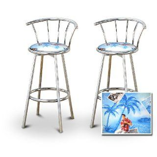 2 Elvis Presley Fabric Chrome Swivel Bar Stool Barstools