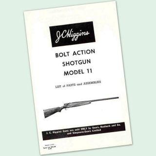 JC HIGGINS MODEL 11 BOLT ACTION SHOTGUN OWNERS PARTS GUN MANUAL