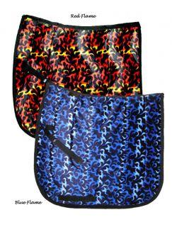 Black Red Flames Dressage Saddle Pad Novelty Print Numnah