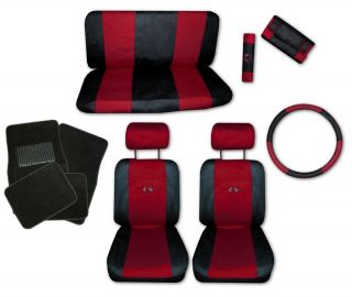 Sport Jersey Red Black Car Truck Seat Covers 9pc Pkg with Black Floor