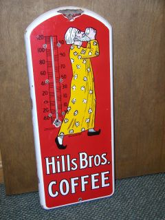 Hills Brothers Coffee Porcelain Vintage Advertising Thermometer 357 R