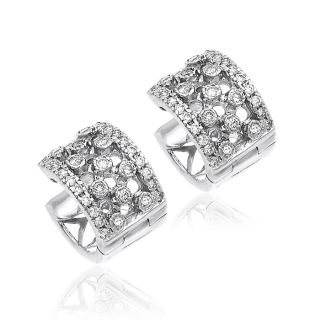 White Gold Round Diamond Huggies Earrings .93ct H SI2  New With Tags