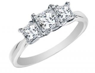 Princess Cut Diamond Engagement Ring and Three Stone