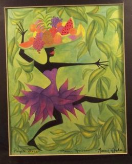 Nancy Hoke Maui Hawaii Print Native Woman in Purple Fruit Basket New