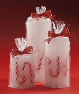New Set Of 3 LED Holiday Christmas Candy Cane Flameless Candles
