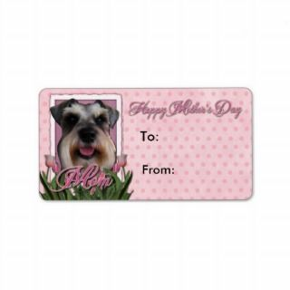 Mothers Day   Pink Tulips   Schnauzer Personalized Address Label