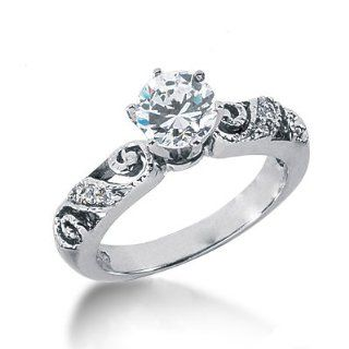 Eye catching 2.00 Ct. Antique Round Diamond Ring in 18K White Gold