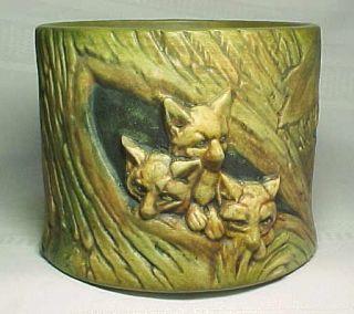 Weller Pottery Woodcraft Muskota Fox Cubs Jardiniere