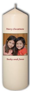 Personalized Custom Christmas Candle Xmas Photo Names