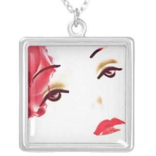 Cherry Lips, Pop Art, , silver charm Necklace