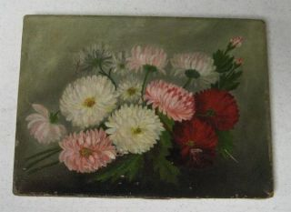 GREAT ANTIQUE VICTORIAN FLORAL PINK RED DAHLIAS? FLOWER STILL LIFE OIL