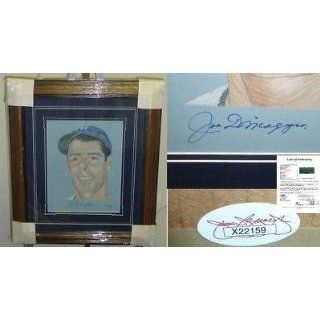 HOF Joe Dimaggio Framed Signed 12x16 Art JSA LOA