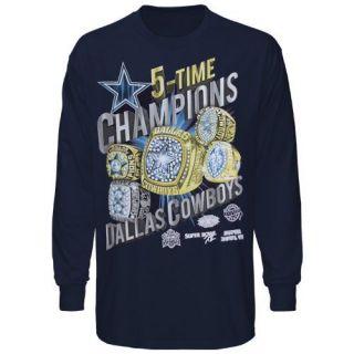 Dallas Cowboys Rings Long Sleeve T Shirt Navy Blue