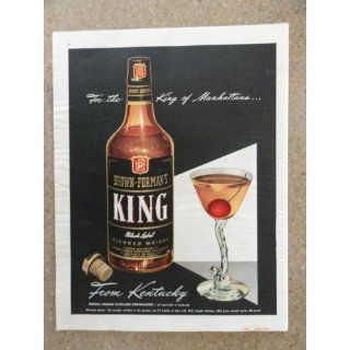 Brown Formans King Whiskey,Vintage 40s full page print