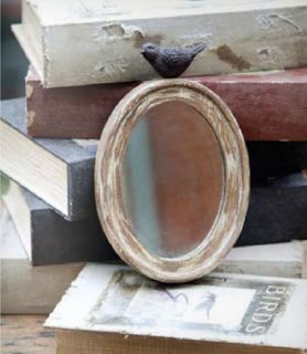 Shabby Cottage Chic Oval Mirror with Bird Home Decor