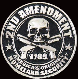 Homeland Security 2nd Amendment Skull Biker Pin