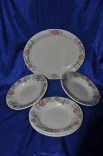 Homer Laughlin Pottery Platter & Four Bowls Set White Red Blue Green