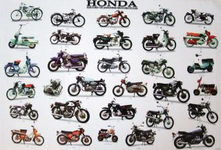 HONDA HISTORY OF JAPANESE MOTORCYCLES POSTER   MOTORBIKES, SCOOTERS