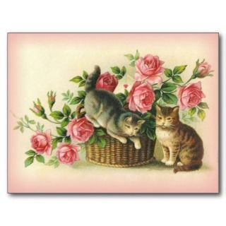 Vintage Cats/Kittens wi Pink Roses Post Card