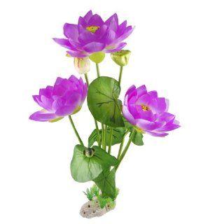 Como Aquarium Artificial Purple Lotus Flower Green Leaf