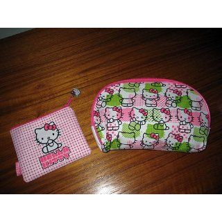 Hello Kitty Cosmetics Bags in Green and Pink 2Pc