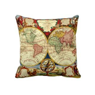 Antique World Map Art Vintage Style Decorator Pillow