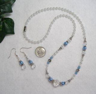 Cornflower Blue Pearl w Crystals 20 Beaded Necklace Earrings Pjlaw