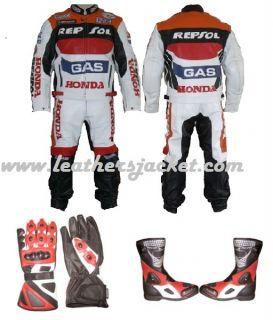Honda Repsol Motorcycle Biker Leather Racing SUIT Jacket PANTS Boots