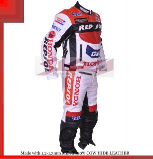 Honda Repsol Gas Racing Leather Motorcycle Full Suit Jacket Trouser
