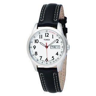 Timex Mens T2N227 Analog Silver Tone Case Black Leather Strap Dress