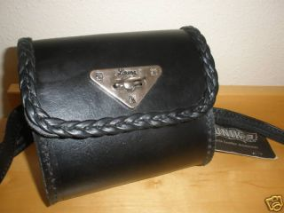 Unik Motorcycle Leather Accessories Black Bag w Strap