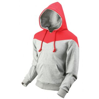 Ililily Womens Double Layer Cotton Hooded Sweatshirt Two Tone Color
