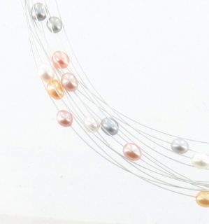 Vintage Honora  Mixed Colors White Pink Yellow Gray Floating Pearl