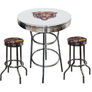 Chicago Bears NFL Football Glass Top White Chrome Bar Pub
