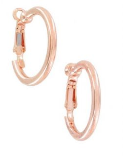 New Rose Gold Plated Clip on Hoop Earrings Made in USA 15 16
