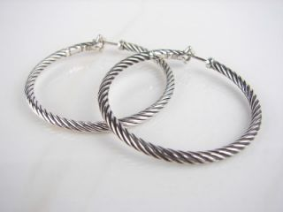 325 Authentic David Yurman Thoroughbred Thin Cable Hoop Earrings