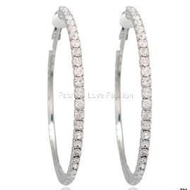 1P Silvertone Clip on Rhinestone Hoop Earrings s to 2XL