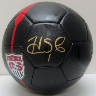 Hope Solo Signed Nike Full Size Black USA Soccer Ball JSA